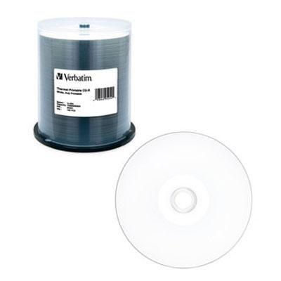 Verbatim 700Mb 52X 80 Minute White Thermal Hub Printable Recordable Disc Cd-R, 100-Disc Spindle 95254