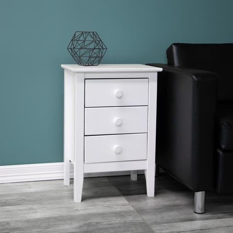 Adeptus Solid Wood White 3-Drawer End Table/Nightstand