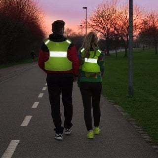Odoland Reflective Vest for Running/ Jogging or Cycling with 2 Reflective Safety Arm/Leg Bands Yellow
