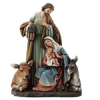 "Set of 2 Joseph's Studio Religious Holy Family Nativity with Animal Christmas Table Top Figurines 7.5"" - Multi"