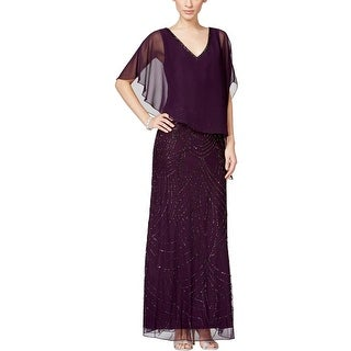 J Kara Womens Evening Dress Mesh Beaded - 12