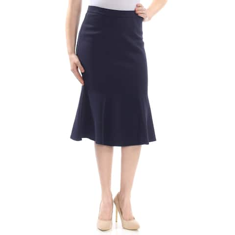 ST JOHN Womens Navy Midi A-Line Wear To Work Skirt Size: 10