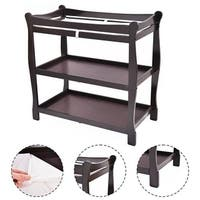 Costway Espresso Sleigh Style Baby Changing Table Infant Newborn Nursery Diaper Station - brown