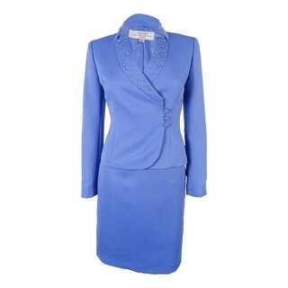 Tahari Women's Three-Button Textured Knee length Skirt Suit - Periwinkle