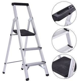 Costway Non-slip 3 Step Ladder Aluminum Folding Work Stool Platform 330Lbs Load Capacity