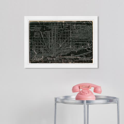 Wynwood Studio 'Chicago Railroad' Maps and Flags Black Wall Art Framed Print