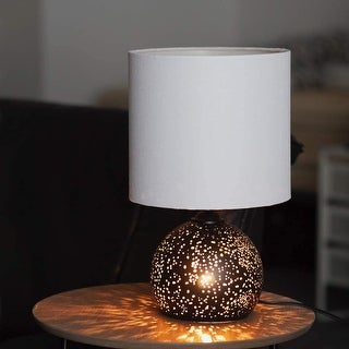 "Link to 16.5"" Pierced Matte Black Metal Table Lamp with Night Light - 16.5 Similar Items in Table Lamps"