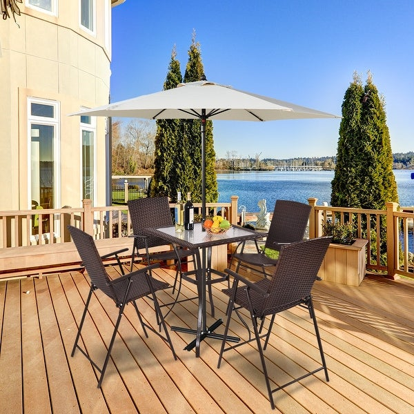 Shop Costway 5pc Rattan Patio Furniture Set 4 Bar Stool Folding