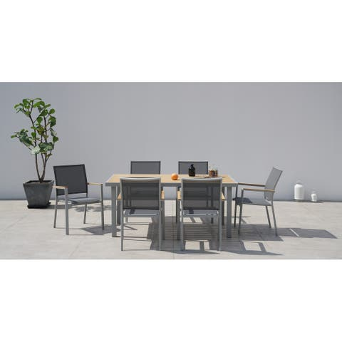 Essence Grey Seagull 7 Pc Dining Set with Sling Set in Pewter