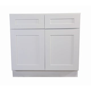 """Design House 561423 Brookings 48"""" Wide x 34-1/2"""" High Double Door Base Cabinet with Two Drawers - White"""