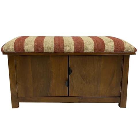 Handmade Kilim Upholstered Storage Bench