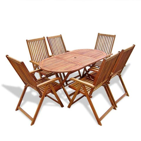 vidaXL Acacia Wood Outdoor Dining Set Garden 7 Pieces Folding Table Chair