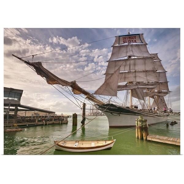 Poster Print entitled Historic tall ship Elissa, Galveston, Texas, USA - Multi-color