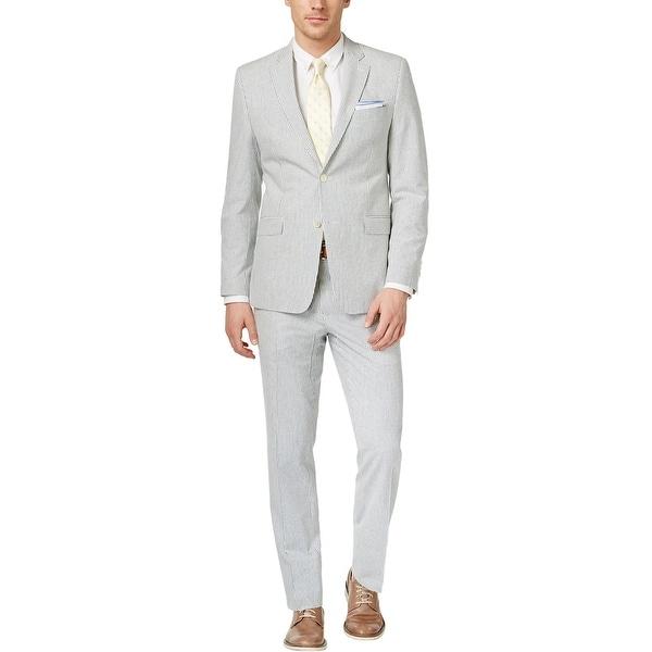 Ralph Lauren Slim Fit Blue and Cream Seersucker Suit 48 Long 48L Pants 43W