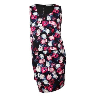 NY Collection Women's Popover Floral Scuba-Knit Dress - rose/ink (2 options available)