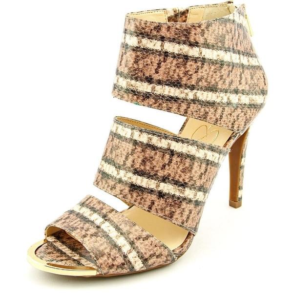 Jessica Simpson Elsbeth Women Peep-Toe Synthetic Brown Heels