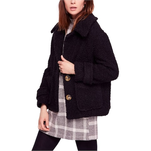 Free People Womens So Soft Pea Coat, black, Small