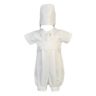 Baby Boys White Matte Satin Romper Christening Easter Outfit 0-18M