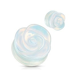 Opalite Semi Precious Stone Rose Carved on Single Side Double Flared Plug (Sold Individually)
