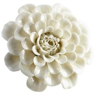 "Cyan Design 09108  Wall Flowers 1-3/4"" x 4-1/2"" Botanical Ceramic Wall Decor - Off White Glaze"