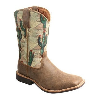 Twisted X Boots Children's YTH0012 Top Hand Cowboy Boot Bomber/Cactus Canvas Leather/Canvas
