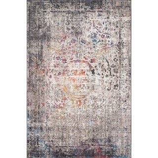 Link to Alexander Home Athens Medallion Abstract Modern Distressed Area Rug Similar Items in Rugs