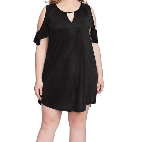 Jessica Simpson Black Womens Size 2X Plus Cold Shoulder Shift Dress
