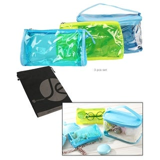JAVOedge (3 Sizes Set) Cosmetic Colored and Clear PVC Toiletry Bag Set with Zipper for Vacation, Bathroom, Storage - Blue