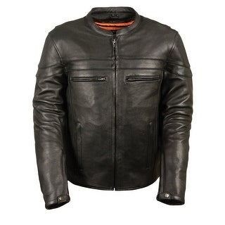 Mens Premium Black Leather Vented Scooter Jacket