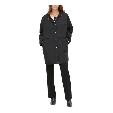 CALVIN KLEIN Womens Black Solid Button Down Coat Size S