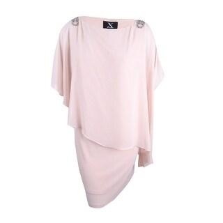 Xscape Women's Plus Size Capelet Shift Dress - blush/silver