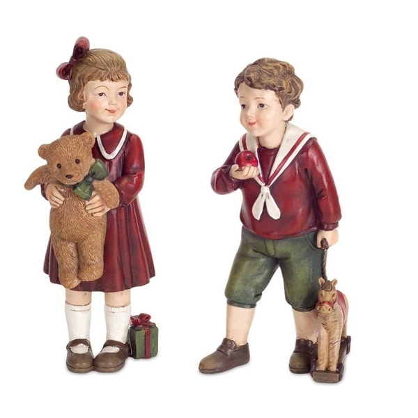 Pack of 8 Traditional Standing Boy and Girl Table Top Christmas Decorations 5.5""