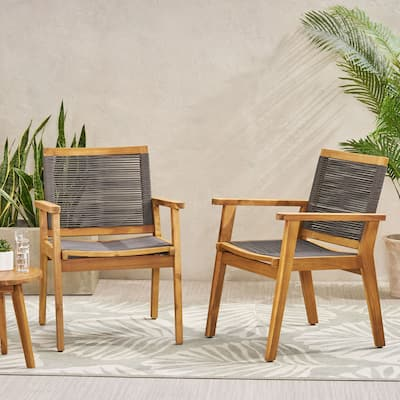 """Mcgill Outdoor Acacia Wood Dining Chair with Rope Seating (Set of 2) by Christopher Knight Home - 24.75"""" W x 26.50"""" D x 34.75"""" H"""