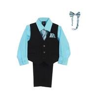 6175462eb Lito Little Boys Hawaiian Blue Shirt Zipper Tie Bow Tie Vest Pant Set 2T