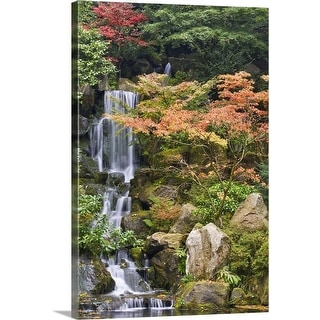"""USA, Oregon, Portland, Portland Japanese Garden, Waterfall in a garden"" Canvas Wall Art"