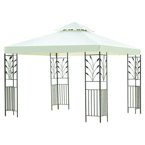 Gymax 10'x10' 2-Tier Gazebo Canopy Shelter Wedding Party Tent - beige