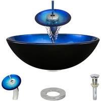 "Rene by Elkay R5-5008-WF Rene 16-1/2"" Glass Vessel Bathroom Sink with Waterfall"
