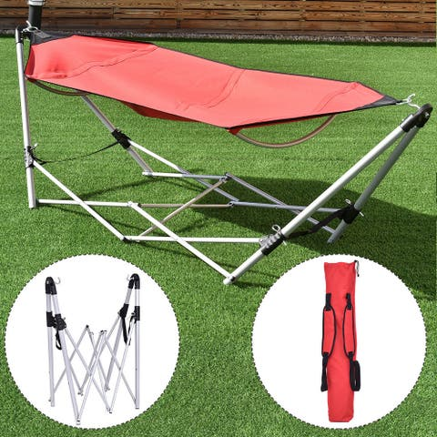 Costway Red Portable Folding Hammock Lounge Camping Bed Steel Frame