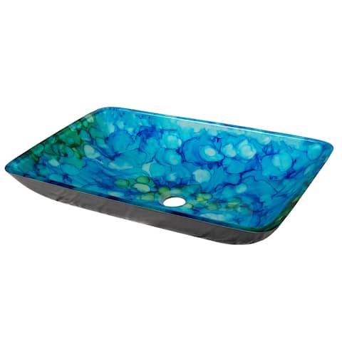 Blue and Green Water Lilies Rectangular Glass Vessel Sink