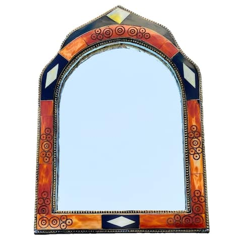 Hand-Carved Bone Moroccan Mirror, Handmade in Morocco