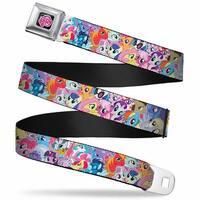 My Little Pony Logo Full Color Black Pink 26 Ponies & Spike Stacked Collage Seatbelt Belt