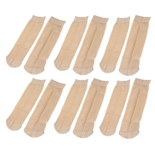 Women Girls Soft Elastic Thin Sheer Socks 6 Pairs - KHAKI