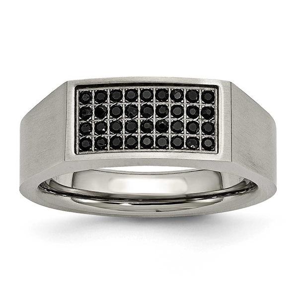 Chisel Titanium Polished and Brushed Black CZ Ring