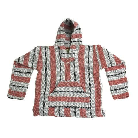 Baja Joe Sherbet Striped Pink & Grey Eco-Friendly Woven Hoodie