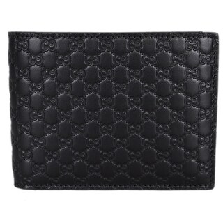 Gucci Men's 333042 Black Leather Micro GG Bifold Wallet W/Removable ID - 5 x 3.75