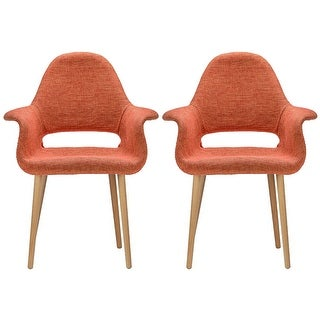 2xhome - Set of 2, Orange Modern Organic Chairs With Arm Armchairs Solid Wood Natural Legs Dining Chairs Living Room Restaurant