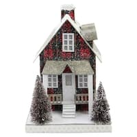 "9.5"" Holiday Moments LED Lit Holiday Tartan House Christmas Decoration –Warm White Lights - RED"