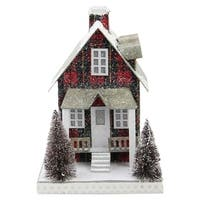 "9.5"" Holiday Moments LED Lit Holiday Tartan House Christmas Decoration -Warm White Lights"