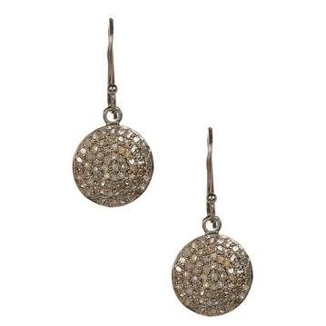Genuine Diamond Disc Earrings in Sterling Silver with Black Rhodium
