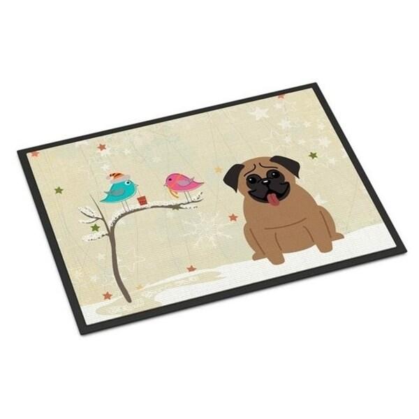 Carolines Treasures BB2477MAT Christmas Presents Between Friends Pug Brown Indoor or Outdoor Mat 18 x 0.25 x 27 in.